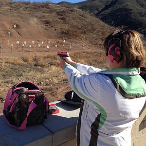 Wife knocking them dead with her Custom Pink Cerakote PF9